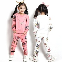 Retail 2-12T Spring&Fall Girls Clothing Sets Fashion Floral Printed Long Sleeve Sweatershirt+Pants Children Sports Suit c20