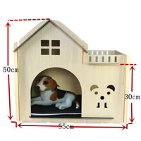 Wood Dog Cat House With A Terrace Personalized Unpick Wooden Pet Kennel Bed Nest