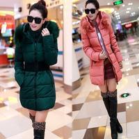 Fresh 2014 Women Winter Fur Collar Thickening Plus Velvet Down Cotton Thermal Medium-long Down Coat Trench Outerwear
