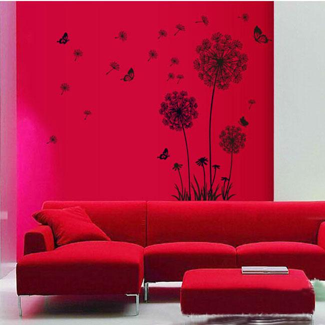 versandkostenfrei modernes design hauptdekoration Löwenzahn blume abnehmbar bett Zimmer wandbild vinyl wandtattoo aufkleber df5125