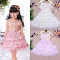 Pretty Baby Kid Girl Princess Party Dress Lace Bow Flower Child Tutu Dress SkirtFree&Drop Shipping