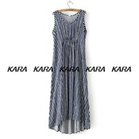 YS 2014 summer women new o-neck cotton stripe sleeveless dresses casual pleated Maxi dress long Sundresses