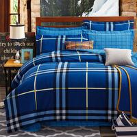 5-pieces 3d queen king size comforter set/quilt/duvet set bed in a bag blue bedding lattice duvet cover teen comforter