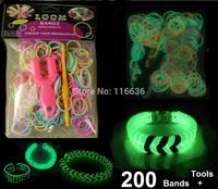 Retail Packing 200 bands + Hooks + Tools Loom Band Bracelet Glow in the dark Children DIY Toy boys girl Kids