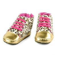 Children's Babies Beautiful Gold Leopard Soft Sole First Walkers Shoe Prewalker
