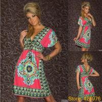New 2014 women beach vestidos de praia saias roupas femininas neon print retro conjuntos moda one piece dresses