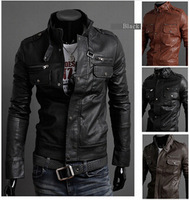 2014 New Arrival Hot Sale Fall Fashion Men's Faux Leather Jacket Men's Casual Wear Top quality Size M-XXL for male