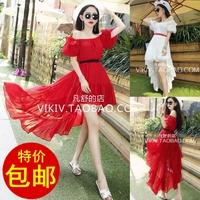 2014 Slit neckline sexy red chiffon  low-high length  slim waist one-piece dress