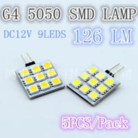 Free shipping, square 9pcs5050SMD, high brightness G4 lamp, DC12V quality assurance 5pcs/lot