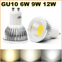 New High power GU10 85-265V 6w 9w 12w led Dimmable cob spotlight lamp bulb warm cool pure white (also have E27 GU5.3 MR16)