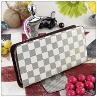 2014 Retro fashion designer women ladies girls purse f bag case handbag Plaid luxury brand PU leather long wallet drop shipping