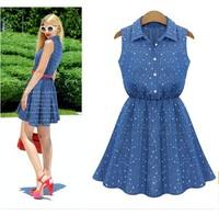 denim dress Summer new fashion denim dots skirt Slim waist skirt sleeveless vest skirt dress lady