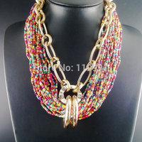 Handmade New Unique Big Bib Neon Chunky Choker Ethnic Beaded Statement Gold Chain Jewelry For Women