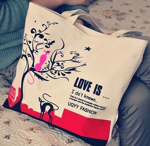 New 2014 Cartoon Cat Canvas Women Casual Shoulder Bags Totes Street Style Large Capacity Shopping Bag Handbag(China (Mainland))