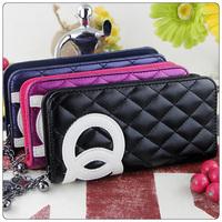 Hot 2014 New Fashion Women's Wallet PU Leather Long Purse Double circle chain zipper Clutch Wallet Coin Purse 3 Colors Wholesale
