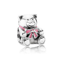 "PS819 European 925 Sterling Silver bead ""BABY GIRL TEDDY BEAR"", exclusive charm for bracelets and necklaces"