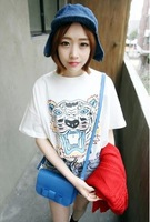 New 2014 Summer Fashion Tiger Printed Cute Sport Short Sleeve O-neck Loose Casual Tee Tops girl t shirt women Free Shipping  834