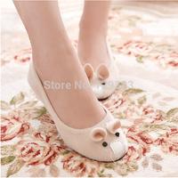 2014 women of sweet shallow mouth single shoes women shoes Flats  cartoon shoes plush mice Peas shoes sy046