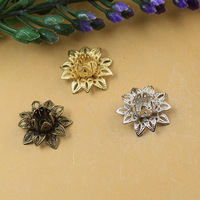 16MM Three layers 3D metal filigree lotus flower charm pendant beads caps, ethnic nepal charms, little tiny small charms jewelry