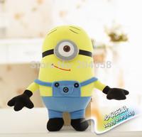 Wholesale or Retail 25cm Despicable Me Minions Figures Stuff Doll Stuart Plush Toys Movie Figure Kids Gifts