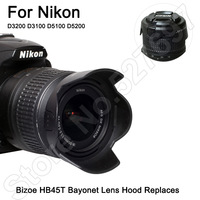 Brand Bizoe HB-45 Bayonet Lens Hood Replaces 52mm For Nikon D3200 D3100 D5100 D5200 18-55mm SLR Camera Accessories Free Shipping