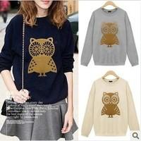 women shirt sell like hot cakes 2014 autumn female long-sleeve plus size owl 100% cotton loose basic shirt female