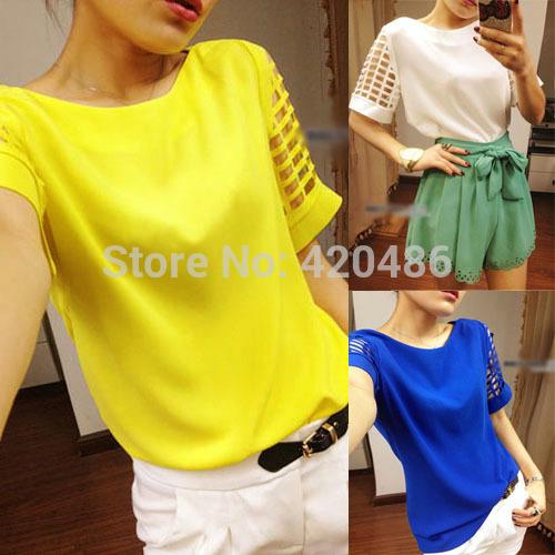 2014 Verão Novo oco da luva Doce barco pescoço Chiffon Blusa T -shirt Camisa da forma(China (Mainland))
