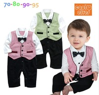 free shipping 8pcs /lot baby  clothing  baby preppy jumpsuit baby boy's long sleeve rompers baby boy formal vest romper
