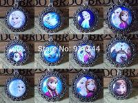 Wholesales 24pcs/lot 2014 New Unique Round Cabochon Charms Elsa & Anna Frozen Necklace Pendant For Girls