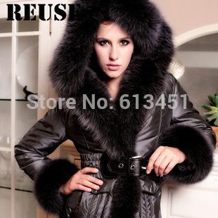 2014 hiver, féminine's livraison gratuite de conception à long d'importation fourrure de renard bleu canard blanc veste à capuche