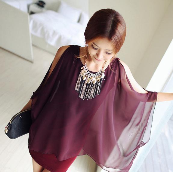 verão slim um- vestido peça tendência mulheres elegantes protetor solar batwing manga camisa de chiffon(China (Mainland))