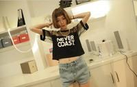 New 2014 Summer Euro Style Letter Print Mesh Short Sleeve O-neck Loose Short Tee Tops girl t shirt women Free Shipping 2621