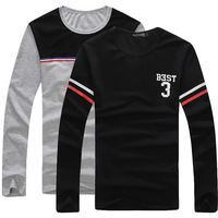 Spring and autumn new men's T shirt fashion Slim casual men's round neck long-sleeved T-shirt