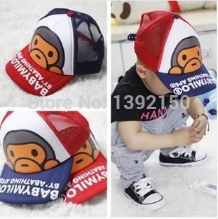 Children monkey hat subnet Korean Hip-hop baseball cap Children cap Striped Hat Brimmed cloth hat Wholesale hats(China (Mainland))