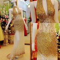 2014 Sale Tulle Vestido De Renda Vestido Longo Dmr011 Halter Neck Crystal Floor Length Luxurious Prom Dresses New Arrivalbridalk