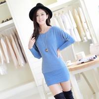 Vestidos S-2XL dresses New 2014 Autumn winter women dress long-sleeve solid knitted dress Korea OL fashion girl casual dress