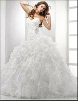 2014 new white/ivory organza wedding dress custom size 6 8 10 12