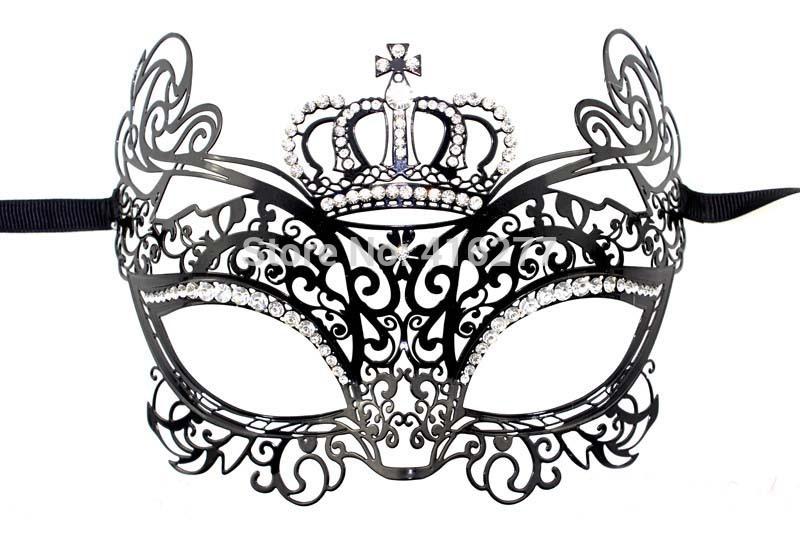 Luxury Beautiful Crown Womens Laser Cut Metal Venetian Masquerade Mask w/ Rhinestones for Carnival, Ball, Halloween(China (Mainland))