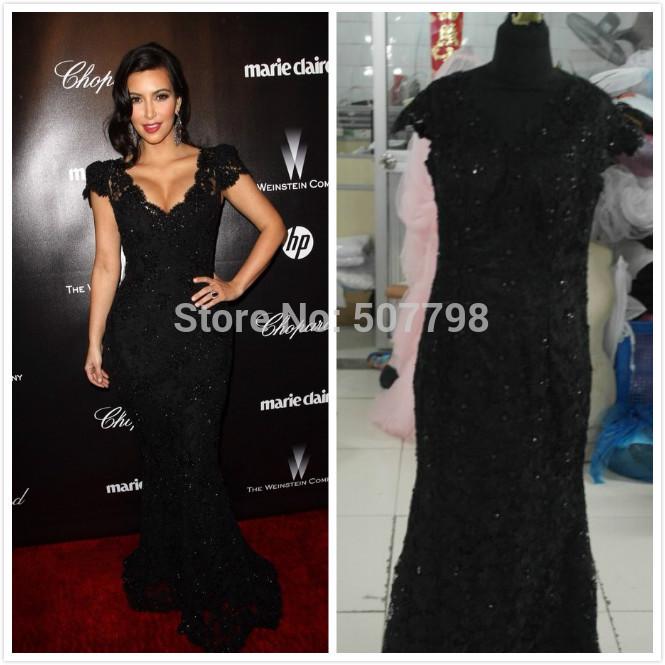 ... style Black Lace V neck 2014 Mermaid Long Evening Dress Cap Sleeves
