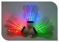 LED Badminton Shuttlecock Free Shipping Brand New Dark Night Glow Birdies Lighting Indoor Sports Flash Colors Drop Shipping