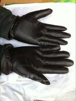 Quality male sheepskin gloves black gloves winter cold-proof thermal men's plus velvet leather gloves 2 double