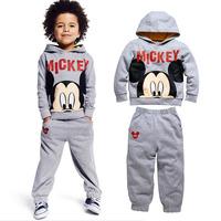 2014 new Autumn Mickey Grey Boys girls Long sleeve hooded casual sports suit jacket + pants 5 set/lot