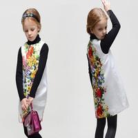 High End 2014 autumn girl print dress brand children princess floral dress,designer kids dobby dress girls' floral dresses