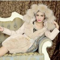 Free Shipping Women Fashion Casual Warm 90% White Duck Down Jacket Hooded Fur Splicing Slim Belt Long Coat Winter Female Outwear