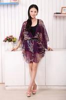 2014 summer new women's silk trade dress thin coat of ink printing sunscreen clothing super beautiful women summer dress