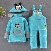 2014 Winter  Children down jacket suit  Boys Girls Cartoon Parkas Warmth Jumpsuit  2pcs / set  Free shipping
