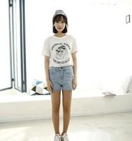New 2014 Summer Korean Short Sleeve O-neck Cute Cartoon Dog  Print  Loose Casual Tee Tops girl t shirt women Free Shipping  330