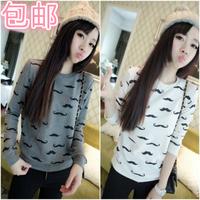 100% NEW Women clothing 2014 autumn t loose female long-sleeve HARAJUKU print T-shirt small fresh long-sleeve