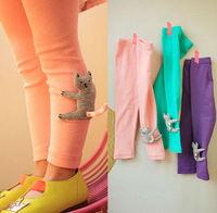 New Fashion 5pc/lot Hug Cat tail sticks up Lovely Girls Leggings Children Cartoon Leggings / Skinny Pants Purple Pink