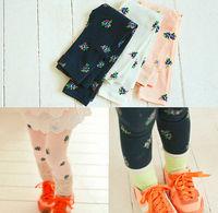 New Fashion 5pc/lot 3 Colors Floral Pint All Cotton Girls Leggings / Long Pants Children Skinny Pants Leggings white Navy Pink